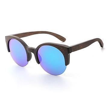 Gafas sol Alrededor de Medio Marco Madera de bambú Añada el ...