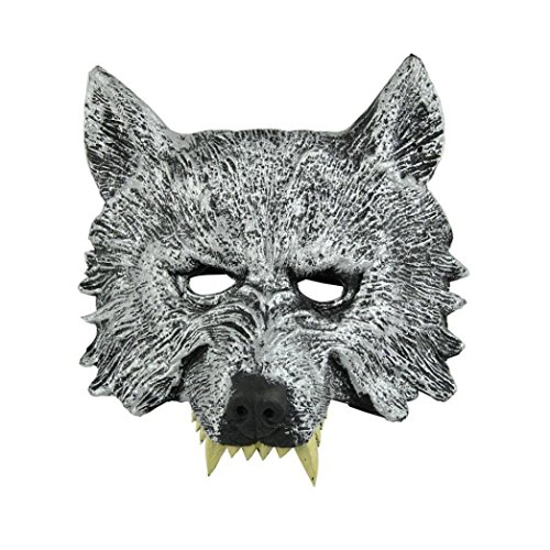 Halloween Props Creepy Wolf Head Mask for Halloween Masquerade Cosplay Decoration Accessories (Grey)