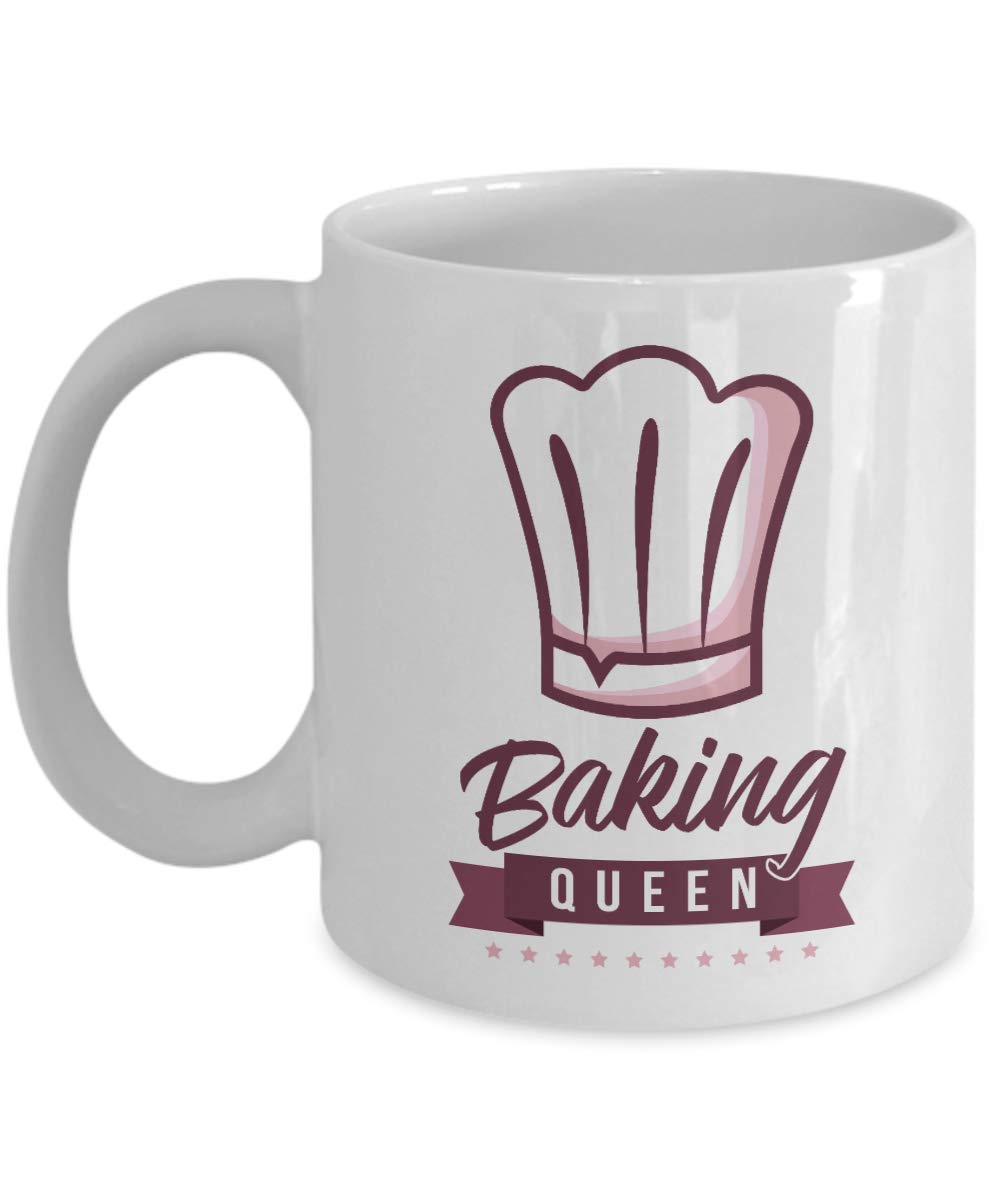 Baking Queen Chef's Hat Cooking Themed Ceramic Coffee & Tea Gift Mug Cup, Stuff, Kitchen Supplies, Décor, Items And Accessories For A Home Cook Mom, Pastry Chef, Bread Baker & Cupcake Or Cake Bakers