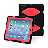 iPad 2 Cases, iPad 3 Case, iPad 4 Case, Three Layer Armor Defender And Full Body Protective Case Cover With Kickstand and Screen Protector (Dark Black/Red)