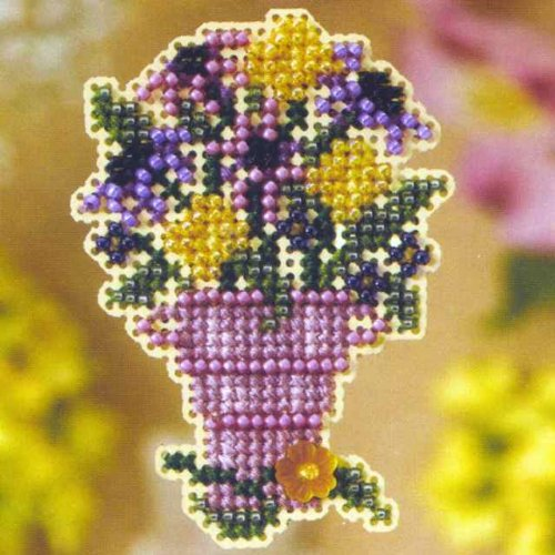 Cut Flowers Beaded Counted Cross Stitch Ornament Kit Mill Hill