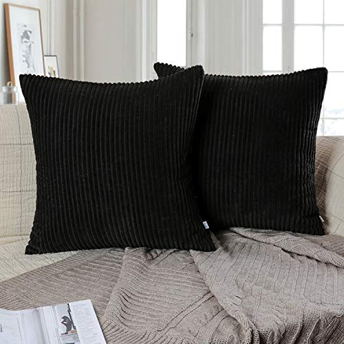 Ashler Pack of 2 Corduroy Soft Velvet Striped Solid Square Throw Pillow Covers Cushion Cases 18 x 18 inch Black