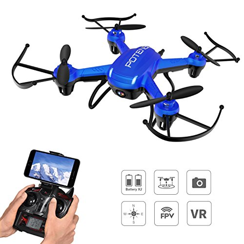 Drone with Camera, Potensic F186WH Hover RC Drone RTF Altitude Hold Mini Quadcopter UFO with Stepless-speed Function & 2MP WiFi Camera(Blue)