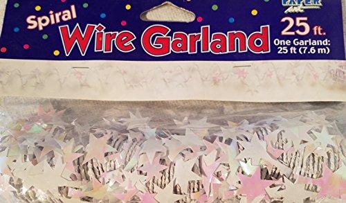 White Opalescent Spiral Wire Garland Star (Opalescent Spiral)