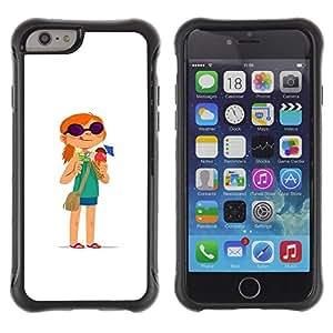 Paccase / Suave TPU GEL Caso Carcasa de Protección Funda para - Redhead Girl Adventure White Cartoon - Apple Iphone 6 PLUS 5.5