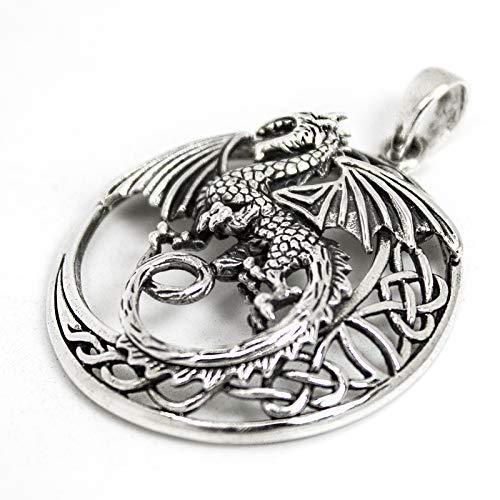 Talismanic Silver of London Pendentif Dragon Celtique en Cercle avec Argent Massif Sterling 925