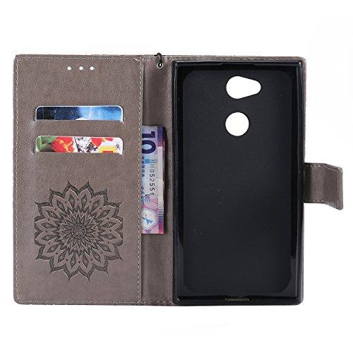 Funda Sony Xperia L2, SsHhUu Funda PU Piel Genuino Carcasa en Folio [Ranuras para Tarjetas] [Cierre Magnetico] con Lápiz óptico + Acollador para Sony Xperia L2 (5.5) Marrón Gris