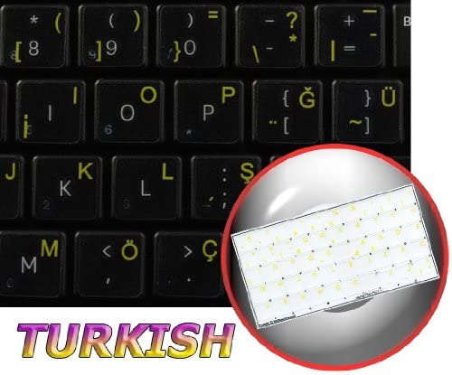 Turkish Keyboard Labels ON Transparent Background with Yellow Lettering 14X14