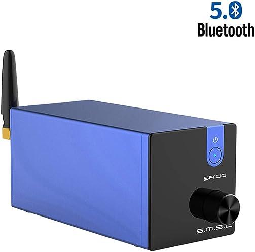 SMSL SA100 Bluetooth 5.0 Amplifier 50W x 50W Power 2 Channel Stereo Audio Amplifier Treble Bass Desktop Amp Blue