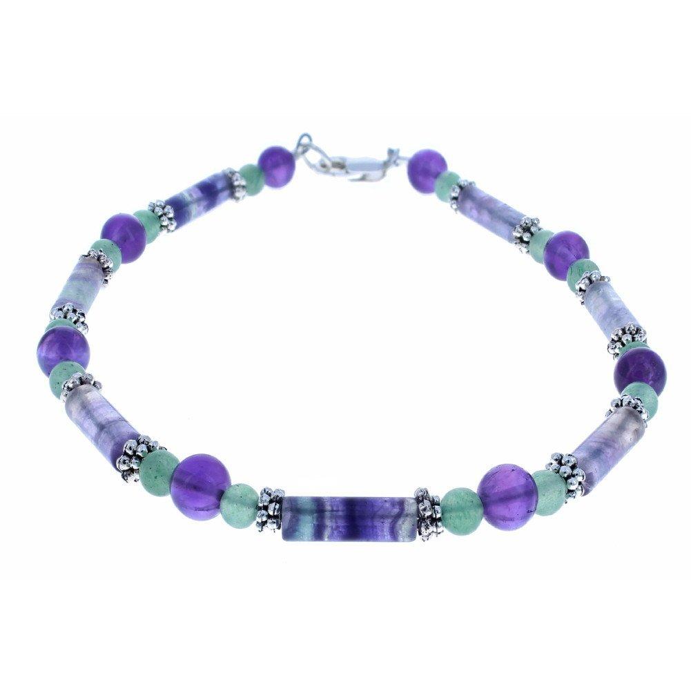 Timeless-Treasures Ladies Amethyst, Rainbow Fluorite, Aventurine & Sterling Silver Beaded Anklet with Daisies - 10''