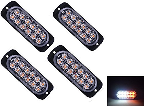 4pcs Universal Super Bright Car Truck Warning Caution Emergency Construction Waterproof Surface Mount Beacon Flash Caution Strobe Light Bar (12-LED, Amber & White) (Mount Strobe Light)