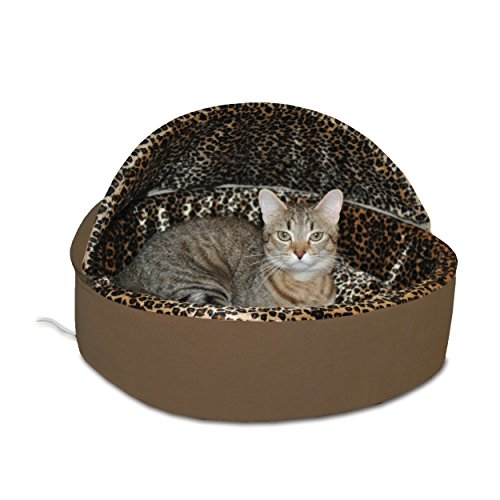 K&H Pet Products Thermo-Kitty Heated Pet Bed Deluxe Small Mocha/Leopard 16