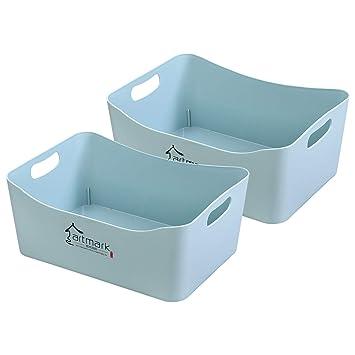 iFlower Cestas de Almacenamiento de plástico con Asas, Caja organizadora para Ropa de Cama,