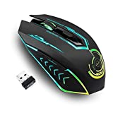 Wireless Gaming Mouse Up to 7200 DPI, UHURU Rechargeable USB Mouse with 6 Buttons 7 Changeable LED Color Ergonomic Programmable MMO RPG for PC Computer Laptop Gaming Players