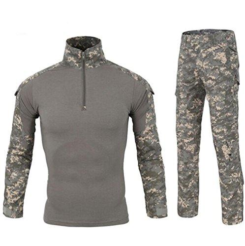 Acu Uniform Set - LiliChan Mens Long Sleeve Tactical Military T-Shirt Outdoor Shirt Combat Shirt with Zipper (XL, Acu Set)
