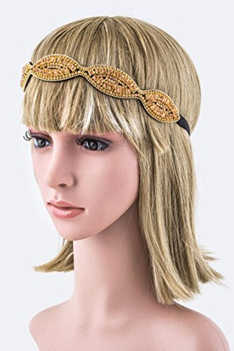 Edwardian Costumes Amazon (Karmas Canvas Crystal Iconic Stretch Headband (Gold/Peach))