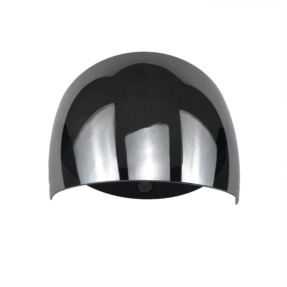 Wancar Motorcycle Retro Flip Up Visor Wind Face Shield Lens Universal For Standard 3-Snap Button Open Face Helmets Mirrored