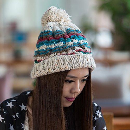 Lana Coreana Punto de otoño de Invierno Tapa versión Beige de para BEIGE Curling Mezclados Maozi Colores Damas AwBOq41