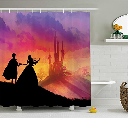 Princess House Fantasia Set (Fantasy Shower Curtain by Ambesonne, Silhouette of Prince and Princess Magical Castle House Fairytale Dream Girls Image, Fabric Bathroom Decor Set with Hooks, 70 Inches, Multicolor)
