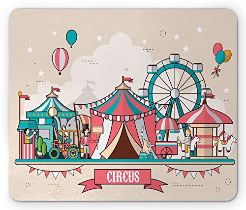 Circus Mouse Pad by Ambesonne, Circus Facilities Scenery in Flat Design Style Balloons Children Park Illustration, Standard Size Rectangle Non-Slip Rubber Mousepad, Multicolor