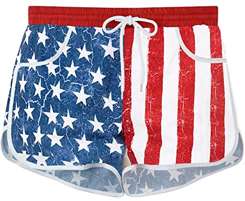 (For G and PL Women's American Flag 4th July Casual Tankini Swim Board Shorts Briefs Bottom Patriotic L)