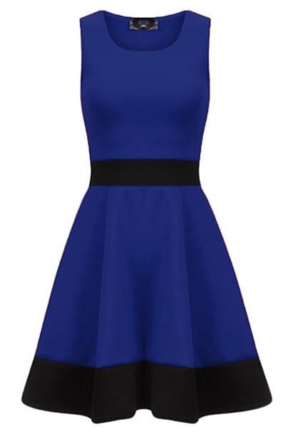 Oops Outlet - Vestido - skater - para mujer Navy - Round Neck Franki Date Dress