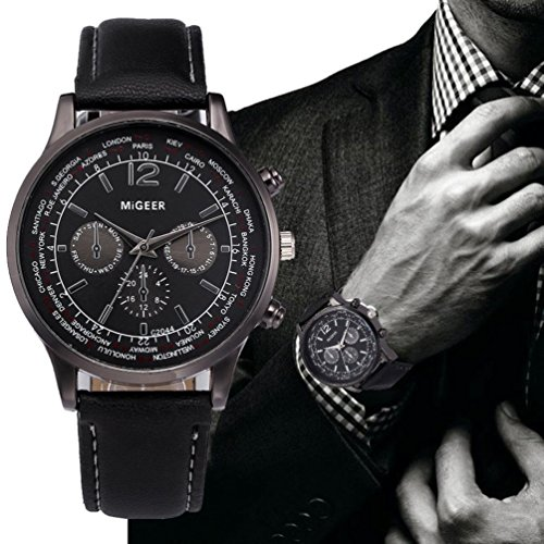 Auwer Luxury Watch, Mens Retro Design Leather Band Analog Alloy Quartz Wrist Watch Clock (Black)