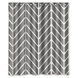 "Stylish Living Elegant Grey Herringbone Chevron Pattern Bathroom Shower Curtain Liner for Home with Hook 60"" x 72"""