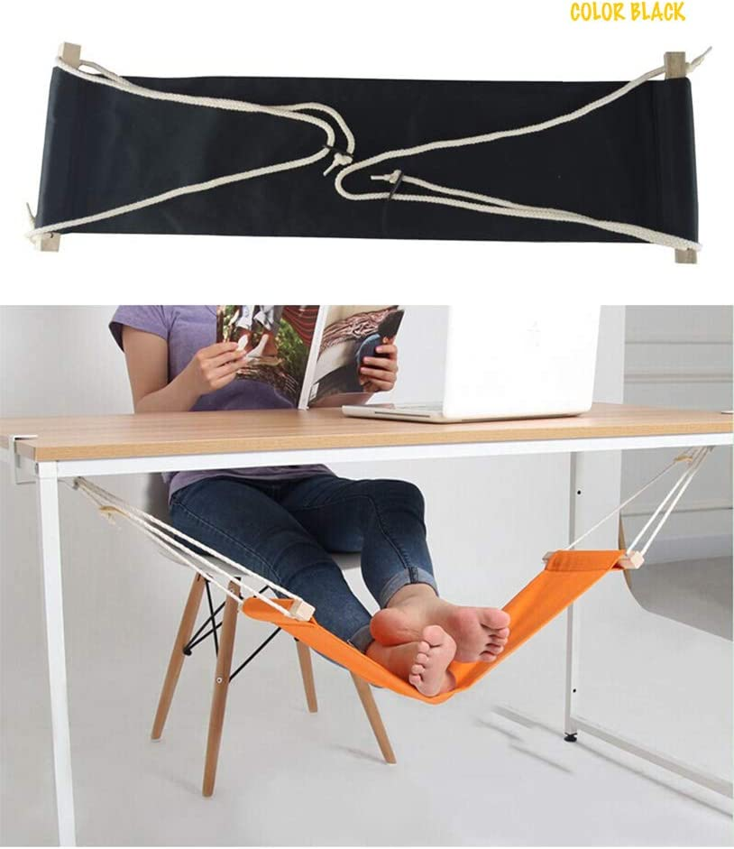 Home-organizer Tech Portable Adjustable Foot Hammock for Corner Desk Office Foot Rest Mini Under Desk Foot Rest Hammock for Home, Office, Airplane, Travel, Study and Relaxing (Black)
