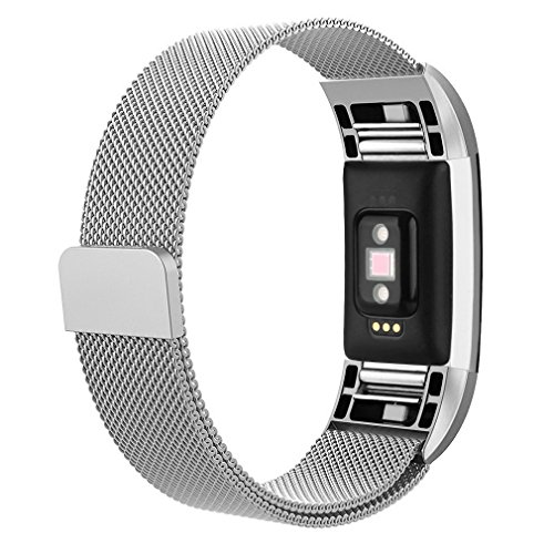 AK for Fitbit Charge 2 Bands, Adjustable Milanese Stainless Steel Metal Band Strap with Magnetic Closure Clasp for Fit bit Charge 2 HR Fitness Tracker (Silver, Large)