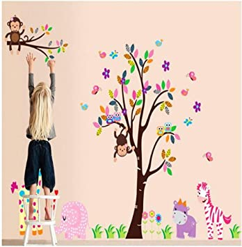 Huge Jungle Monkey Tree Wall Decor Decal Baby Girl Nursery Wall Sticker Art  Jungle Animals Lion Part 50