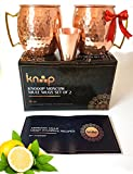 Premium Moscow Mule Mugs Set of 2, Handcrafted, Hammered Copper Construction for Timeless, Elegant Gift – 16oz Unlined, Copper Cups +FREE Recipe Book and Cocktail Party Guide by Knooop