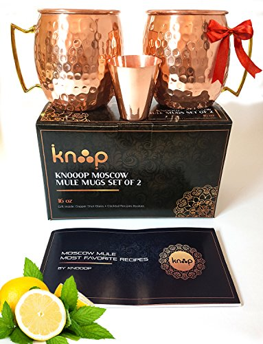 Premium Moscow Mule Mugs Set of 2, Handcrafted,, Hammered Copper Construction for Timeless, Elegant Gift – 16oz Unlined, Copper Cups +FREE Recipe Book and Cocktail Party Guide by Knooop (Vodka Gift Basket Ideas)