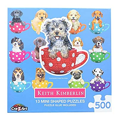 Lafayette Puzzle Factory Pups in Cups 1 : A Collection of 13 Mini Shaped Puzzles Totaling 500 color coded pieces Exclusive Keith Kimberlin Editions: Toys & Games