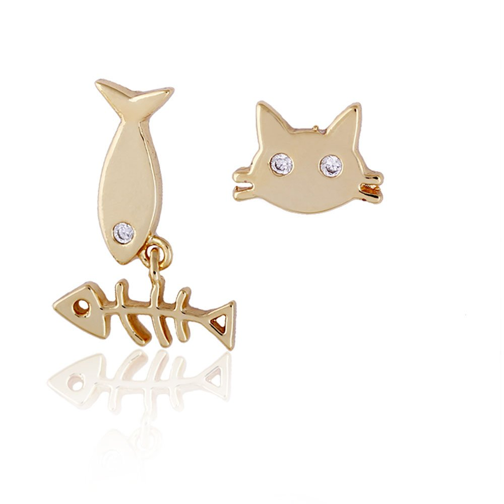 Diamondo New Style Cute Cat/Fish Bone Pattern 18K Gold Plate Pierced Stud Earrings 7lc4dh9sa8kc1