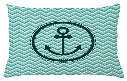 Ambesonne Anchor Throw Pillow Cushion Cover, Horizontal Zig Zag Pattern Background Anchor Image Circle Shape Medallion, Decorative Accent Pillow Case, 26 W X 16 L Inches, Dark Green ()