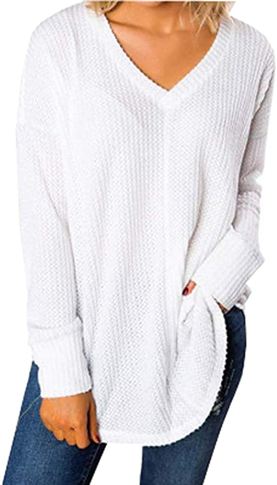 Femme Casual Pull v-neck Loose Pull Automne à manches longues Pull Taille Plus
