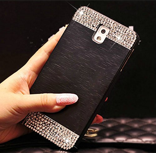 Galaxy S6 Edge Case ,Lucky Stores (TM) Luxury Diamond Hybrid Glitter Bling Hard Shiny Sparkling with Crystal Rhinestone Brushed Metal Aluminum PC Back Cover Case for Samsung Galaxy S6 Edge (Black)