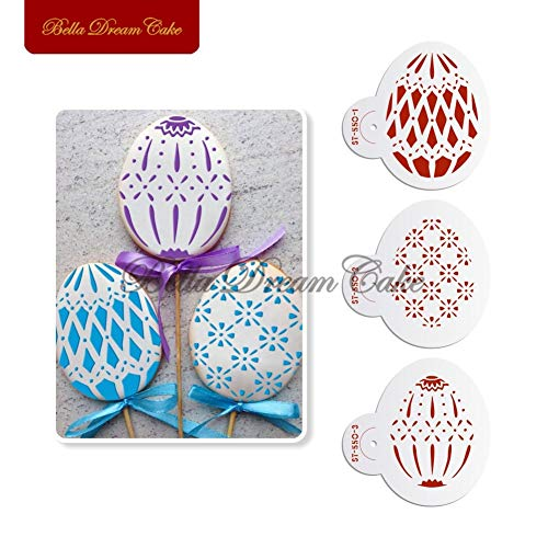 Easter Egg Shape Faberge Pattern Cookie Stencils Cake And Cupcake Decorating Mold Plastic Mould Bakware Tool ()