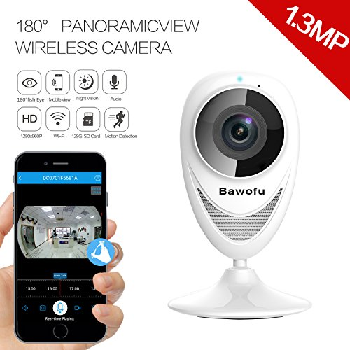 Bawofu 960P Wireless Home Security IP Camera with Bracket, Wide Angle View Fisheye 180° Panoramic for Remote Surveillance with Night Vision Motion Detection 2-Way Talking for iOS or Android (Wide Brackets)