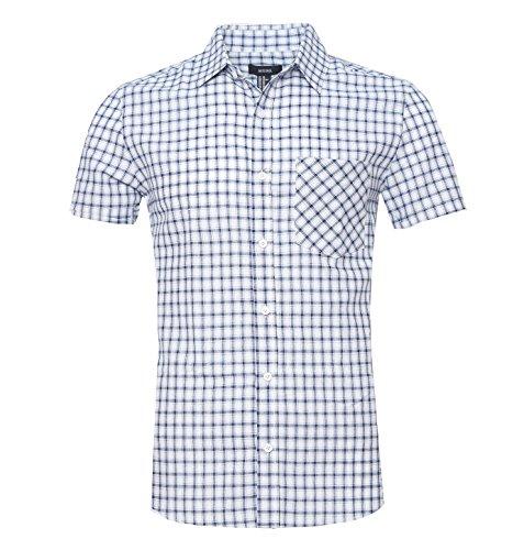 NUTEXROL Men's Regular Fit Short-Sleeve Plaid Shirt Cotton Work Shirts Western Style T-shirt Green X-Large