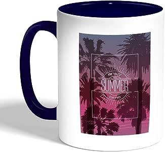 كوب سيراميك للقهوة بطبعة تمتع بالصيف ، لون ازرق