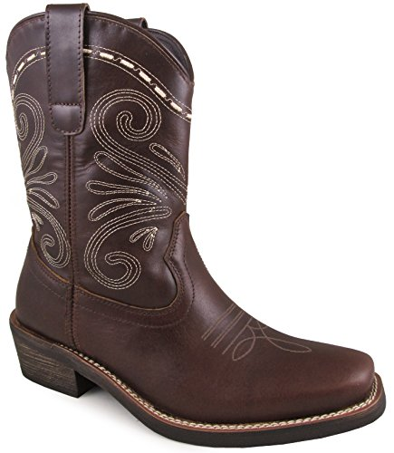 Smoky Mountain Women's Josie Pull On Straps Stitched Design Square Toe Dark Brown Boots 9.5M