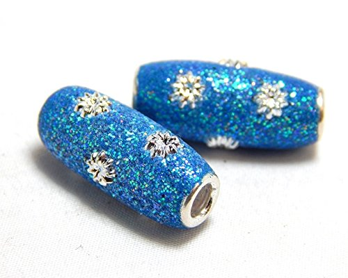 2 Crystal Slider Hole - 2 Blue Beads 20x8mm Large Hole Slider Tube Glitter Handmade Sparkly Aqua