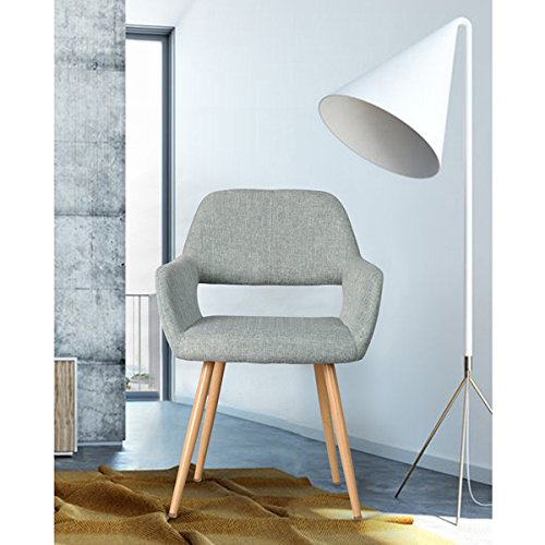 Mid-Century Style Side Chair Metal Legs Fabric Cushion Seat and Back for Dining Room Arm Accent Chairs in Grey by eHomeProducts