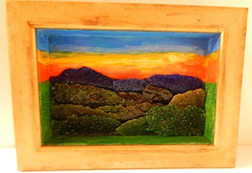 Mountain Landscape Mixed Media Painting Art Fused Recycled Glass