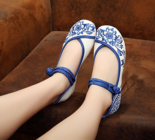 WHH Zapatos de porcelana azul y blanca bordados, lencería, estilo étnico, hembrashoes, moda, cómodo White
