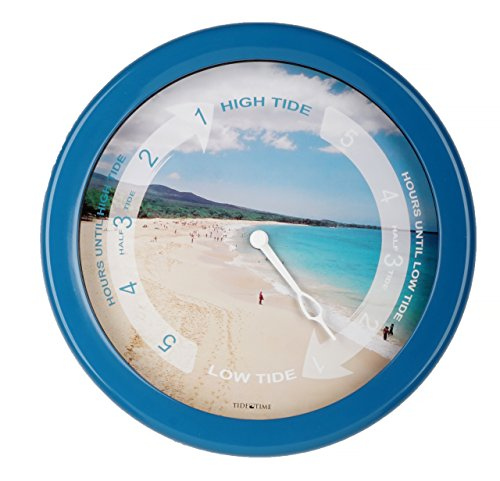 8.5 Inch Atlantic Tide Clock Colorful Digital Graphics Designed, Quality Plastic Water Resistant Case, Home Wall Décor (TT023-Beach Blue)