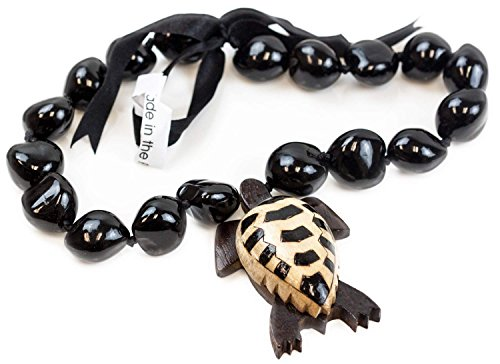 Barbra Collection Hawaiian Style Black Kukui Nut with Wood Carved Turtle Pendant Necklace 18inch