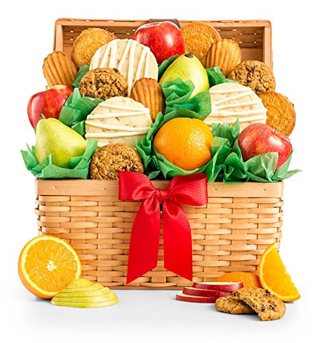 GiftTree Fresh Fruit and Cookies Gift Basket - Premium Gift Basket for Men or Women - Chocolate Chip, Oatmeal Raisin, & White Chocolate Macadamia Cookies (Oatmeal Cookie Gift Baskets)
